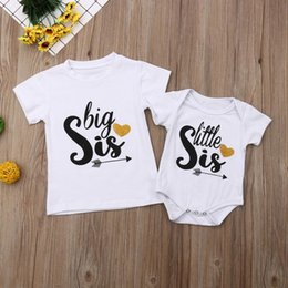 Wholesale Newborn Baby Girls Clothes Sister Matching Bodysuit Big Sister T shirt Little Romper Top