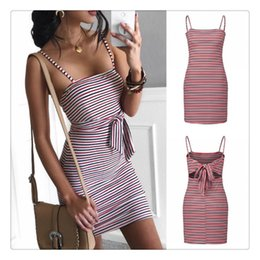 Wholesalers Selling Bows Australia - Summer Women Skirt Bake Tie Bow Waist Flat Shoulder Strap Mini Skirt High Waist Dress Sexy Style Striped Patten Hot Selling