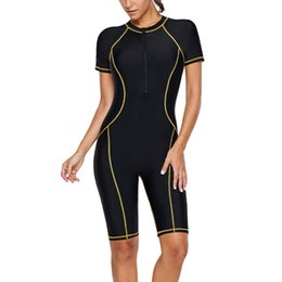 $enCountryForm.capitalKeyWord Australia - Bathing Summer Surfing Wetsuit Diving Zip Front Color Block Quick-drying Rashguard Beach Short Sleeve One-Piece Women Swimsuit