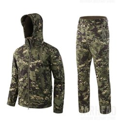 shark shell jacket Australia - Hot Winter Men Tactical Waterproof shark skin Soft Shell Fleece Jacket Pants Suit Outdoor Camping Hunting Hiking Camouflage Sets T190919