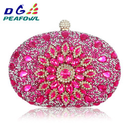 large blue handbags Canada - Luxury Clutch Chain Bag Woman Wedding Diamond Crystal Floral Blue Red Sling Designer Purse Cell Phone Pocket Wallet Handbags Y19061301