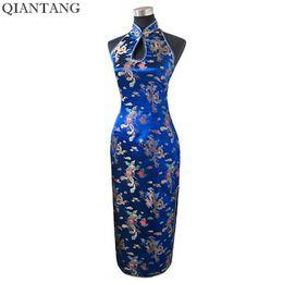 $enCountryForm.capitalKeyWord UK - Navy Blue Traditional Chinese Halter Cheongsam Long Qipao Backless Costume Dress Size S M L Xl Xxl Xxxl Mujeres Vestidos J3400