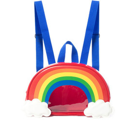 Discount school bag straps - Cute Rainbow Children's Bags Children's Primary School Bags Travel Backpack Transparent Double Straps you dese