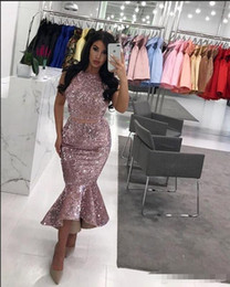 $enCountryForm.capitalKeyWord Australia - Sequined Two Pieces Dresses Evening Wear Jewel High Low Skirt Mermaid Prom Dress Cheap Zipper Back Cocktail Gowns Formal Wear Vestidos