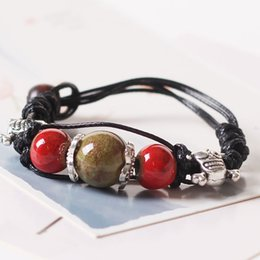 round skull NZ - Fashion Charm Ceramics Muticolor Round Beads Skull Bracelet Original Design Bangle Hand Knitted Amulet Jewelry Gifts
