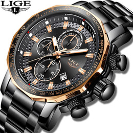 Sports Clocks Australia - New 2019 Lige Mens Watches Top Brand Luxury Sport Quartz All Steel Male Clock Military Waterproof Chronograph Relogio Masculino Y19061905