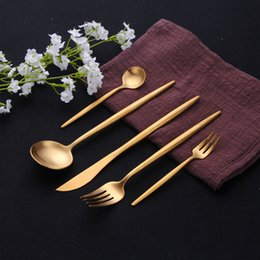 stainless china forks NZ - Gold Cutlery Set 304 Stainless Steel Cutlery Set Chopsticks Butter Knife Dessert Spoon Dinner Fork Tea Ice Spoon Tableware Set