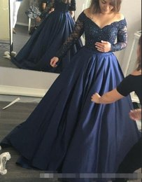 $enCountryForm.capitalKeyWord Australia - 2019 Dark Navy Blue Plus Size Evening Dresses Satin Appliqued Lace Off The Shoulder Long Sleeves A-line Special Occasion Party Gowns