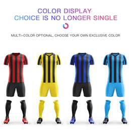 Football Games For Kids Australia - Wholesale football jerseys design for Men adult Boys Soccer Sets custom Print Training game Jerseys Kids Football Shirts Shorts Running Suit