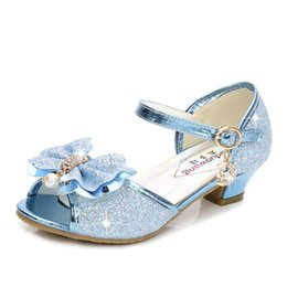 pink sandals for wedding UK - 5 Colors Children Princess Sandals Kids Girls Wedding Shoes High Heels Dress Shoes Bowtie Gold Pink Blue Silver Shoes For Girls Y200623