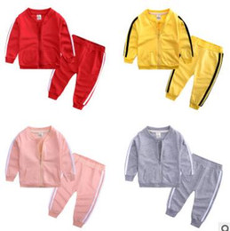 girls sportswear UK - Boys and girls wear casual sportswear long-sleeved spring and autumn striped jacket pants set two-piece children's clothing