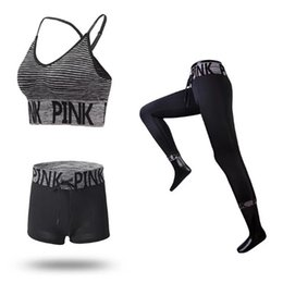 Fitness Suit Women UK - Fashion Pin-k Letter Women Tracksuits Quick-dry 3pcs set Yoga Suit Fitness Gym Top Vest Running Underwear Sets Runner Outfits