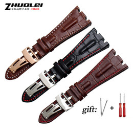 Großhandel Für Ap Straps 28mm Schwarz | Blau 100% Echtes Leder Handgefertigtes Uhrenarmband Mit Stahlfaltenverschluss Armband T190620