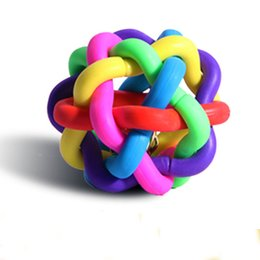 $enCountryForm.capitalKeyWord UK - Dog Puppy Cat Pet Bell Sound Ball Rainbow Colorful Rubber plastic Fun Playing Toy funny 5.5cm Bell Weave Balls Puzzle Pet Toys Sphere