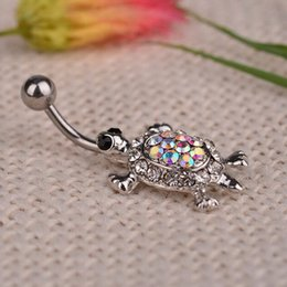 Gold Belly Dance Chains Australia - 1Pcs Crystal Turtle Dangle Body Piercing Navel Belly Button Ring Bar Women Dance Ring Multicolor