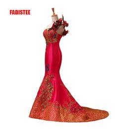 $enCountryForm.capitalKeyWord Australia - new arrive party prom dress Vestido de Festa one-shoulder mermaid satin lace-up back flowers lace luxury style dress