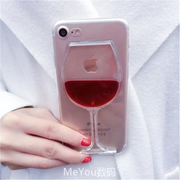 Iphone Back Hot Pink Australia - Luxury Hot Red Wine Glass Liquid Quicksand Transparent Phone Case Hard Back Cover For Iphone 5 5s Se 6 6s 7 8 Plus X Housing