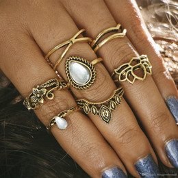 $enCountryForm.capitalKeyWord Australia - Hollow Lotus Ring Sets for Women Anillos Punk Vintage Retro Finger Tibetan Flower Knuckle Midi Rings Party Boho Jewellery