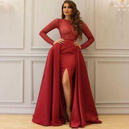 1b555d213dbe6 Long Shirt Dress Side Slits Australia - Long Sleeves Burgundy Long Red  Cutout Slit Prom Dresses