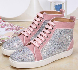 sneaker drop shipping NZ - drop shipping new casual Luxcry Red Bottoms Sneaker Shoes High-top Shoes Flats Rhinestone Red Sole High Mens Dress Wedding Party Fashion Z21
