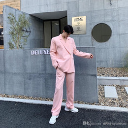 Suits Custom Made Australia - New Fashion Custom Made Pink Men Suits for Wedding Groom Tuxedos 2Piece Man Suits Blazers Coat Pants Slim Fit Costume Homme Terno Masculino