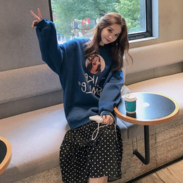 Sweatshirts Blue Australia - Blue Medium-length Loose Round-collar Letter Printing Stitching Sanitary Wardrobe Point Fake Two Dresses 2019 Sweatshirt Dress