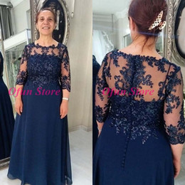 latest yellow beads Canada - Latest Navy Blue Chiffon Mother of the Bride Dress Plus Size 3 4 Long Sleeve A Line Groom Mother Gowns Wedding Party Dresses