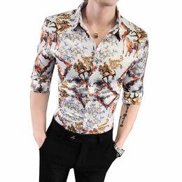 $enCountryForm.capitalKeyWord Australia - Social Shirt for Boys Blouse Men's Clothes Summer Vintage Flower Men Shirt Half sleeve Fashion Slim Black White