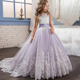 $enCountryForm.capitalKeyWord Australia - Princess Long Flower Girls Pageant Sleeveless Dresses Kids Lace Applique Beaded Sequin Decoration Prom Puffy Tulle Ball Gown