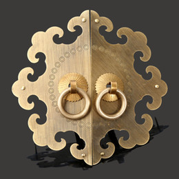 $enCountryForm.capitalKeyWord Australia - brass hardware Antique Fittings Brass Hardware Vintage Chinese Cabinet Face Plate Set Door Cupboard Pull Handle Knobs for Furniture