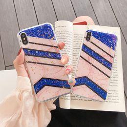 $enCountryForm.capitalKeyWord Australia - For Iphone XS MAX X XR 8 7 6 Line Luxury Foil Marble Case Bling Sparkle Sequin Foil Rock Soft TPU IMD Glitter Vertcal Confetti Flake Cover