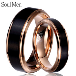 $enCountryForm.capitalKeyWord Australia - Soul Men 1 Pair Man & Woman Black & Rose Gold Color Tungsten Carbide Marriage Wedding Rings Set 8mm For Boy 6mm For Girl Y19051002