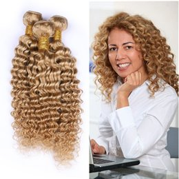 26 Inch Deep Wavy Hair Australia - Honey Blonde 27 Color Wet and Wavy Human Hair 3Bundles 100% Virgin Deep Wave 27 Color Hair Weaves Exensions 3pcs Double Wefted