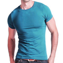 1fdc4699c3a5 2019 Stretch Lycra V Collar Mens T Shirt Solid Color Short Sleeved T-shirt  For Male Men Tights Slim Tshirt