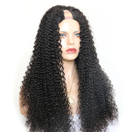 $enCountryForm.capitalKeyWord Australia - Deep Curly U Part Wig Brazilian Remy Lace Human Hair Wigs For Women Natural Black Front 150% Density Full End
