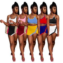 Wholesale womens dresses suits for sale – plus size Womens piece dress gallus skirt miniskirt crop top mini skirts suit fashion summer irregular women clothes