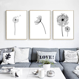 $enCountryForm.capitalKeyWord Australia - Wall Art Canvas Poster Black White Minimalist Print Painting Dandelion Flower Landscape Picture For Living Room Home Decoration