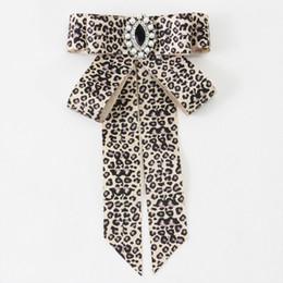 uniforms for girls 2019 - Ladies Vintage Lepord Bow Tie Women Neck Tie For Women Uniform Pin Necktie Party Gravatas Fashion Diamond Bowties Girl G