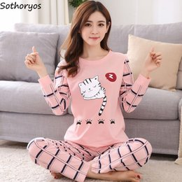 Pajamas Sets Women O-Neck Cartoon Printing Kawaii Cotton Sleepwear Pajamas  Womens Winter Soft Korean Homewear 2 Pieces Cute Set 7a8e2bcea