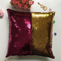 Suits Case Australia - Magic Mermaid Sequin Pillow Case Cover 35 Styles Reversible Glitter Pillowcase Home Car Sofa Cushion Cover Sequin Boster Case Xmas B21402