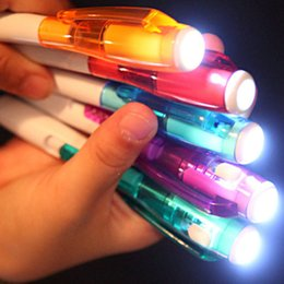 Flashlight Pens Wholesale Australia - LED Advertising Light Pen Blue Color Bullet 0.7 14CM Multi-function Night Reading Light-emitting Small Flashlight Ball-point Printing LOGO