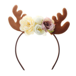 Novelty Christmas Ornament Australia - Funny Christmas Deer Antler Headband With Flowers Blossom Novelty Party Hair Band Headware for Baby Kids Girls (F Style)