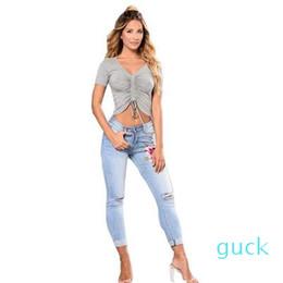 Wholesale design print skinny jeans resale online – designer Light Blue Demin High Elastic Skinny Pants Broken Hole Design Floral Embroidered Stretch Jeans Hot Selling