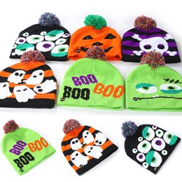 $enCountryForm.capitalKeyWord Australia - Halloween Knitted Hats Led Kids Baby Moms Winter Warm Beanies Crochet Caps For Pumpkin Ghost Skull Festival 6 styles DHL WX9-1509