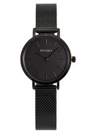 Ingrosso Casual moda donna FEYERT 2019 piccolo quadrante tutto nero orologio da polso cinturino a catena in acciaio al quarzo di colore nero Giappone FE-0006