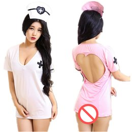 $enCountryForm.capitalKeyWord Australia - Sexy Costumes Sexy Nurse Uniform with Hat gstring underwear 1 set cosplay mini dress Halloween Role play shirt dress hollow backless dresses