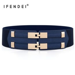 wide brown elastic belt Australia - Ifendei Elastic White Belt Blue Corset Belt For Women's Dress Adjustable Double Buckle Cummerbunds Ladies Black Elastic Corset Y19070503