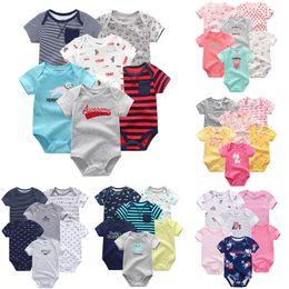 $enCountryForm.capitalKeyWord Australia - 6 Pcs lot Newborn Unisex Summer Rompers Boy Girl Clothes Roupas De Bebe Cotton Soft Baby Junmsuits J190514