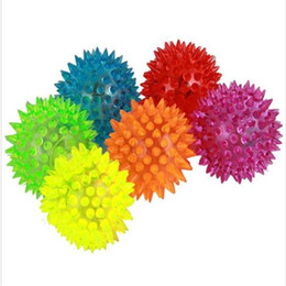 $enCountryForm.capitalKeyWord Australia - 100pcs lot Fast shipping Dog Puppy Cat Pet LED Squeak toy Rubber Chewing Bell Ball whistle ball Hedgehog Fun Toys 0715ayq