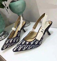 Toptan satış Yüksek topuklu Seksi Kadın Yüksek topuklu ayakkabı Siyah Örgü Sivri Burun Pompaları Renkler Bayanlar Yaz Gladyatör Sandalet b ...